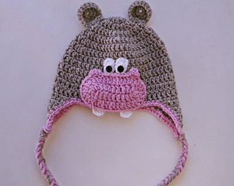 2a9cf9bbe00c0 Hippo winter knit hat with ear flaps for 3-6 years old