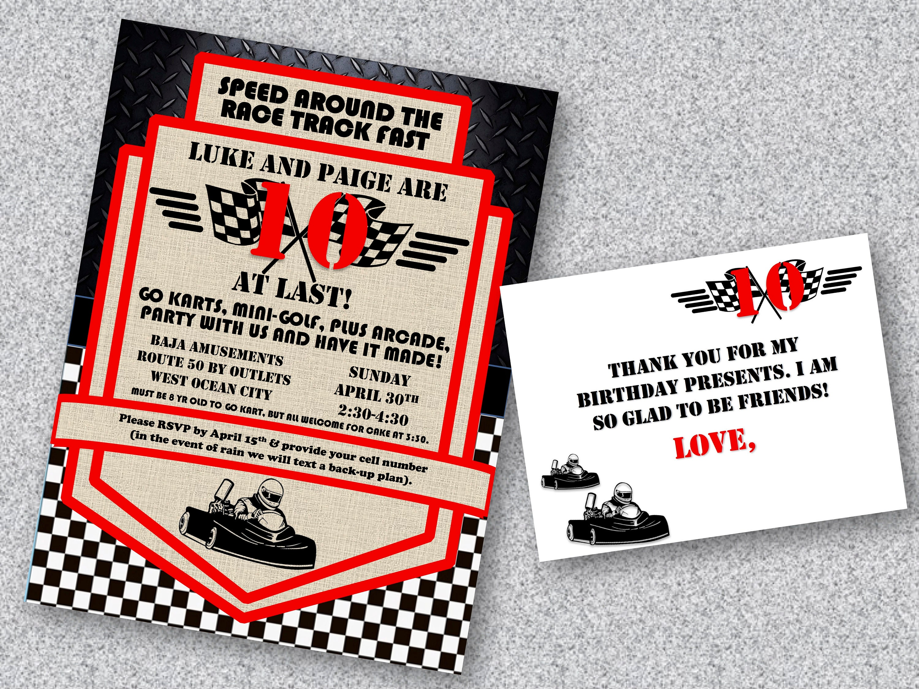 Printable Go Kart Birthday Invitation and Thank You Cards | Etsy