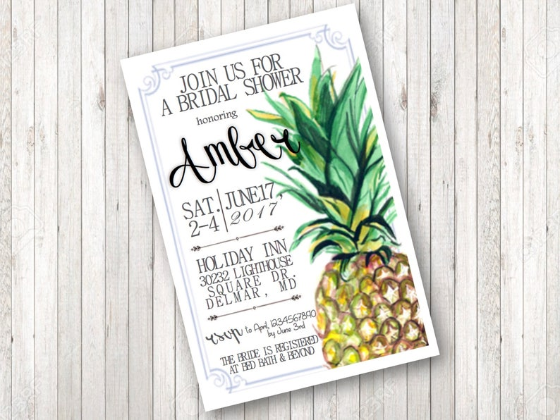 photo about Printable Pineapple identified as Printable Pineapple Bridal Shower Invitation