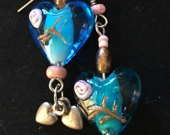 Blue Glass Rose Heart Earrings