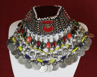 Very colorful kuchi choker necklace from Afghanistan
