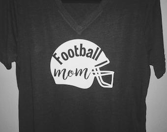 Football Mom Gray V-Neck Ladies T-Shirt