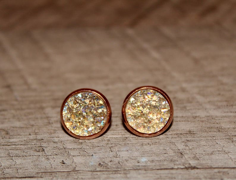 12mm 4 Pair Faux Druzy Earring Set