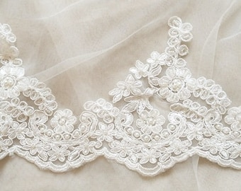 ivory heavy beaded lace trim by the yard, cord beads embroidered lace trim, high quality alencon french lace trimming