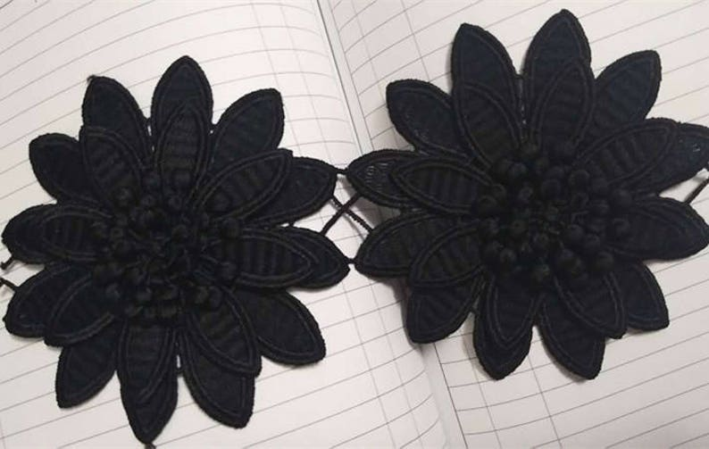 black venice 3D flowers lace trim floral scalloped embroidered lace trim fabric by the yard