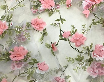 6 yards green and pink printed floral organza lace fabric with 3D pink flowers, 3D chiffon rosette pink floral fabric, bridal lace fabric