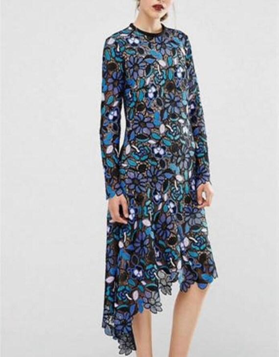 multi multi multi couleurs bleu lourd brodé floral dentelle, tissu dentelle broderie par l'yard | En Ligne  42028a