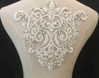 vintage flower rhinestone lace appliques, rhinestone appliques for bridal collar bridal bodice sash belt