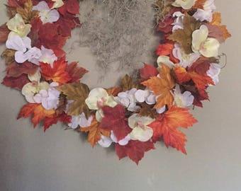 Handmade orange and yellow fall wreath