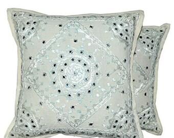 7bbb548acc Indian Embroidery Work White Pakka mirror work handmade handwork cushion  cover 5 piece set