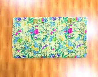 Handmade Paradise Floral Print Kantha Quilt, Bohemian Bedding Bedspread, Kantha Throw
