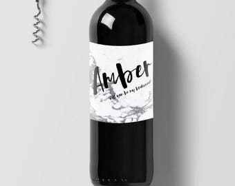 Marble Bridesmaid Wine Labels FREE SHIPPING!