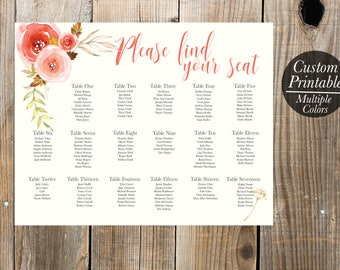 Floral Wedding Seating Chart Printable