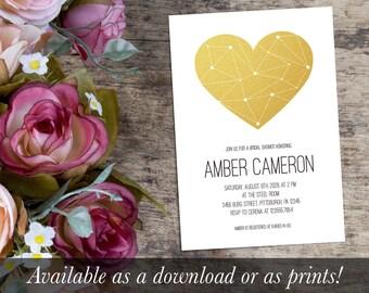 Gold Heart Bridal Shower Invitation