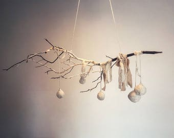 Woodland baby mobile, branch baby mobile, hanging mobile, nature mobile