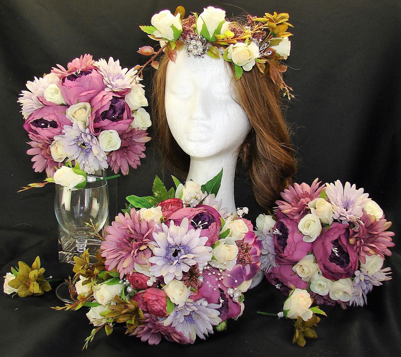 Rustic Boho 7 Piece Wedding Bouquet Set Purple Daisies Bouquet