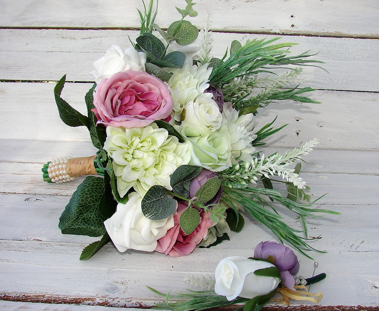 RUSTIC BOHO 6 Piece Wedding Bouquet Set , White , Purple bouquet set ...
