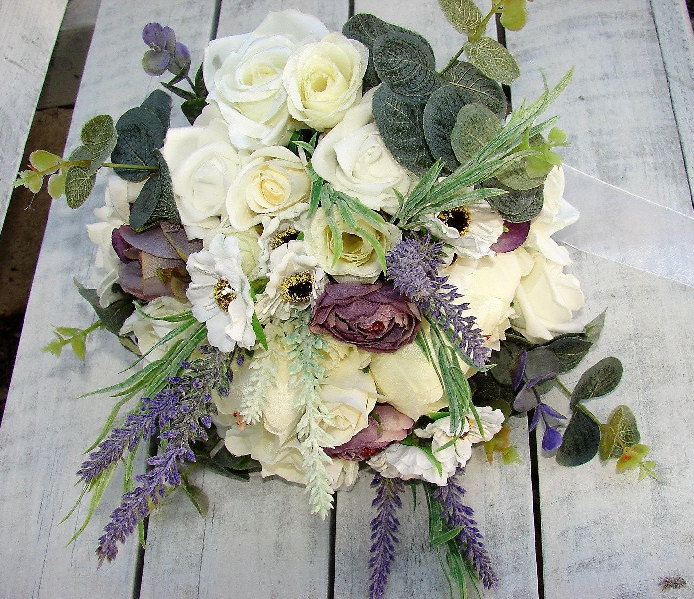 White lavender plum purple 8 piece rustic wedding bouquet set white lavender plum purple 8 piece rustic wedding bouquet set roses peonies daisies gum leaves lace boho artificial flowers izmirmasajfo
