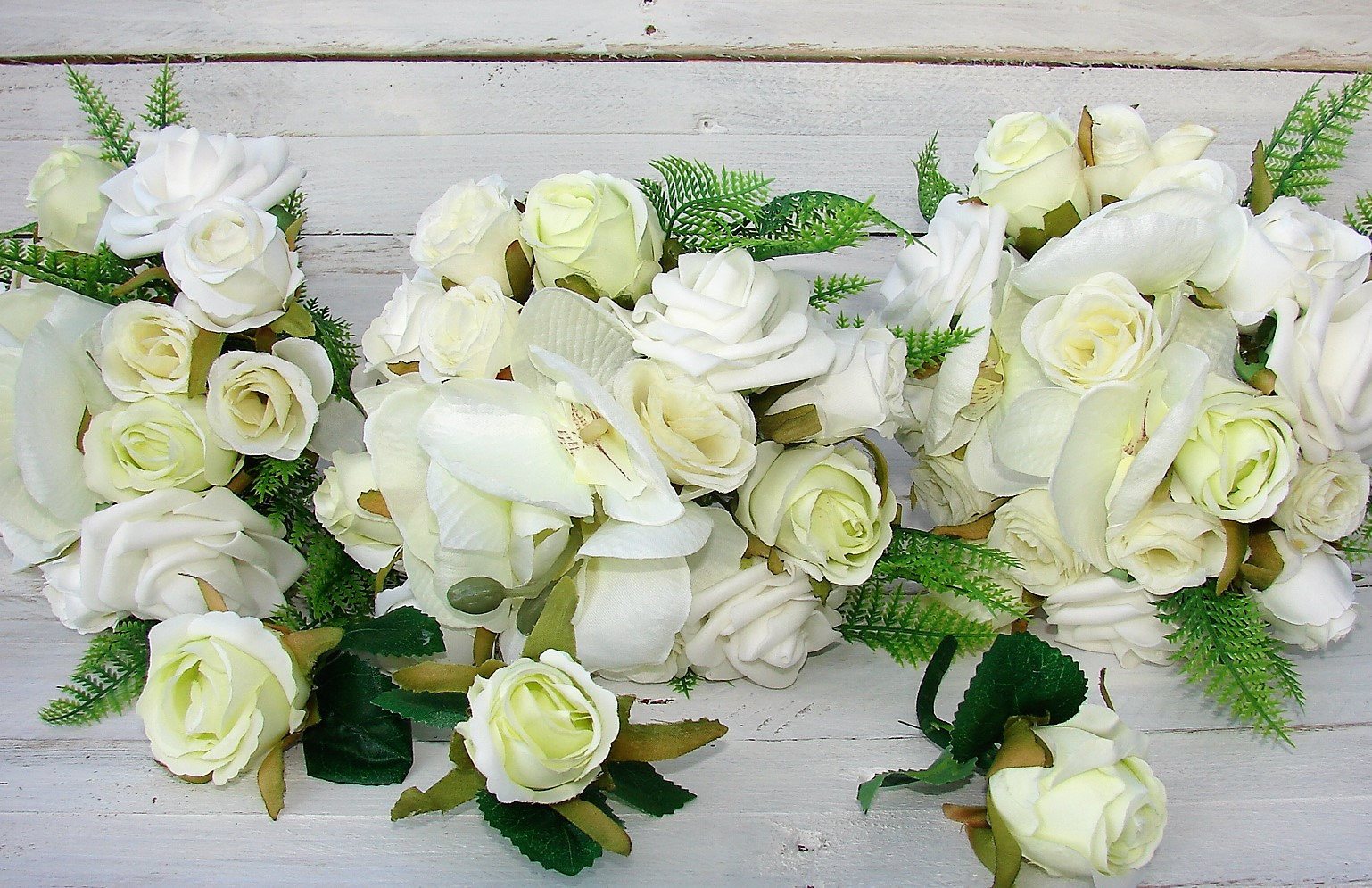 Butterfly Orchids And Roses 12 Piece Wedding Bouquet Set In White