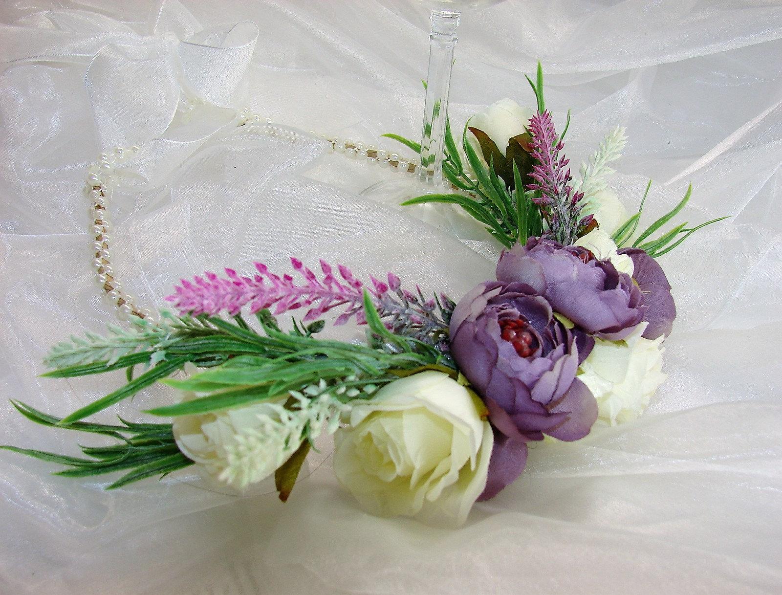 Boho flower crown wedding hair accessory purple peonies white boho flower crown wedding hair accessory purple peonies white roses lilac lavender pearl beaded adjustable with organza ribbon izmirmasajfo