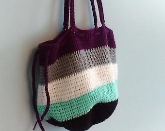 Crochet Drawstring Tote