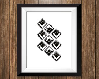 Abstract Diamond Geometric Print