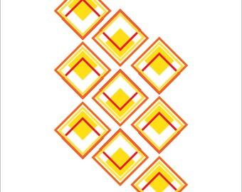 Abstract Diamond Geometric Print
