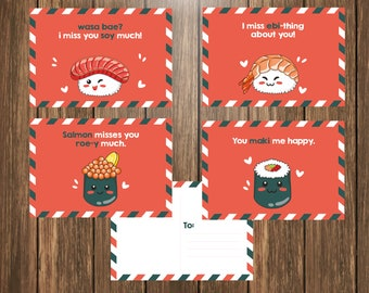 Printable Personalized Kawaii Sushi Pun Postcards, Food Postcards, I miss you Postcards,  Happy Mail from Teacher - Teacher Postcards