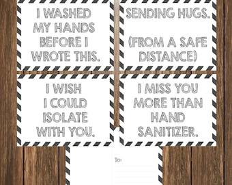 Printable Funny Quarantine Postcards, I miss you Postcards,  Happy Mail from Teacher - Teacher Postcards