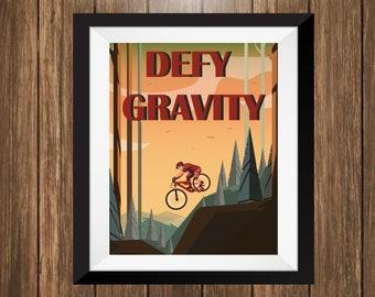 Retro Mountain Biking Art Print