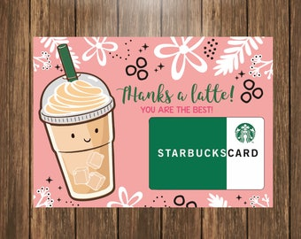 Coffee Gift Card Holder Printable, Teacher Appreciation Gift, Thank You Gift