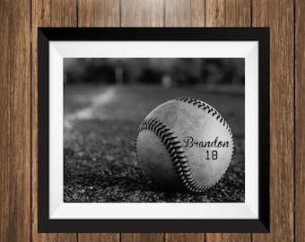 Personalized Baseball Art Print, Baseball Gift, Baseball Photo