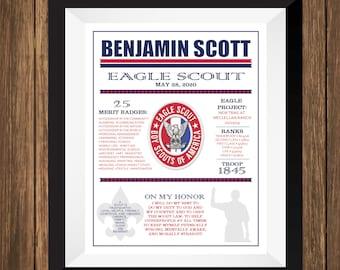 Eagle Scout Print, Boy Scout Art, Eagle Scout Gift, Boy Scout Gift
