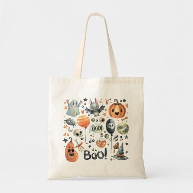 Fall Autumn Pumpkins Natural Reusable Market Happy Halloween Tote Bag