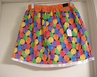 Handmade Reversible Birthday Balloon Skirt US size 6 girls, Fashion Reversible skirt, Birthday party Ready to ship.
