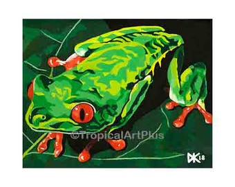 FROG KING~counted cross stitch pattern #1191~Animals Frogs Chart