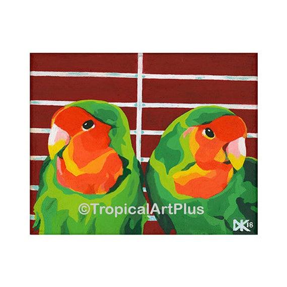 Acrylic Lovebirds Painting Lovebirds Valentine S Day Etsy