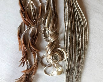 """Mix blonde light brown De dreads braids feathers 22"""" 24"""" easy to install"""