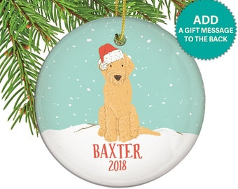 personalized goldendoodle dog christmas ornament