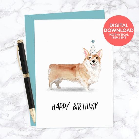 Birthday Blank Quality Card FREE 1st Class Post Welsh Corgi Dog