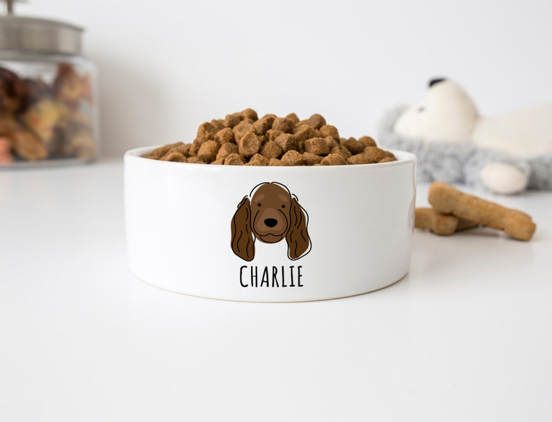 pet food bowl with name Dog bowl for Cocker Spaniel