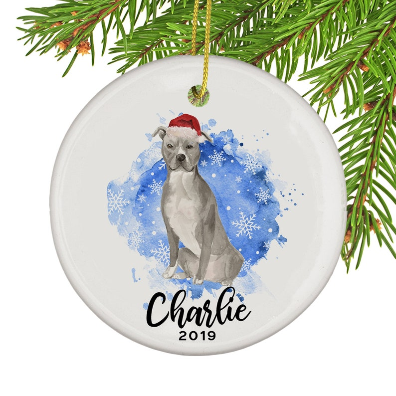 American Staffordshire Terrier Porcelain Christmas Holiday Ornament