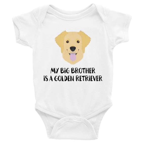 or Sister My Big Brother Is A Golden Retriever Blue Pink Cotton Baby Bodysuit