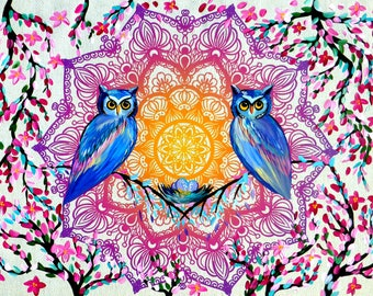 owl, painting, print, prints, of, mandala, and, owls, on, canvas, for hanging, on, wall, art, paintings, cherry blossom, from,Australia,pink