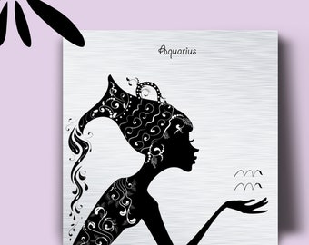 847a3cf8f0ef72 Aquarius Zodiac Sign Metal Art Print
