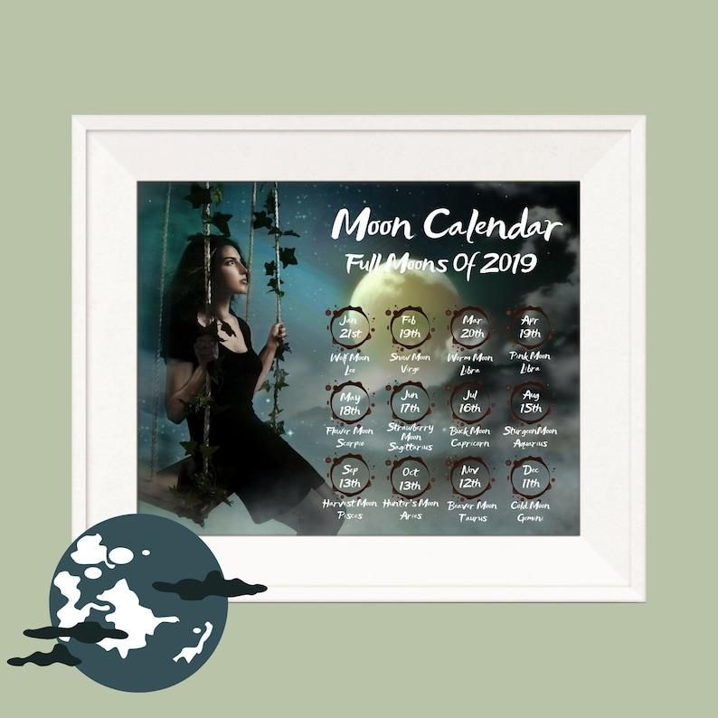 Printable Full Moon Art Calendar 2019, Printable Lunar Calendar 2019