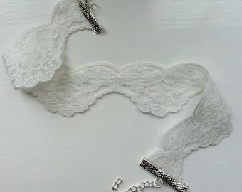 Off White Vintage Lace Choker Floral Lace Choker Handmade Lace Choker