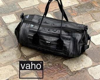 Duffel Bag. Black Vegan Leather Weekender. Recycled waterproof Overnight Bag. Gym Bag Man Woman. Duffle Inner Tube Kit Sports bag.