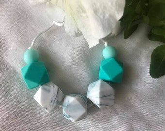 Silicone Necklaces - Teal Marble
