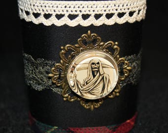 Gothic grim reaper and old lace Cuff Bracelet